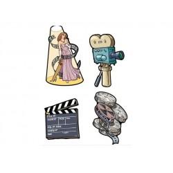 4 décorations de cinéma Bobines Projecteur Clap Star