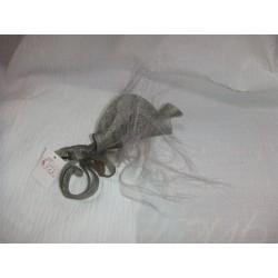 Pince Estelle sisal vert kaki et crin gris coiffe de cérémonie mariage bapteme communion