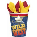 8 gobelets de cow-boy 266 ml en carton cups wild west