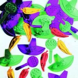 """Confettis à relief """"Olé"""" métallisés mexique Sachet de 14gr"""