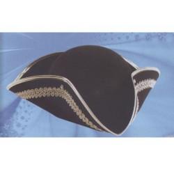 Chapeau tricorne noir galonné d'or corsaire pirate marquis