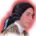 Perruque marquis noire avec catogan cavalier