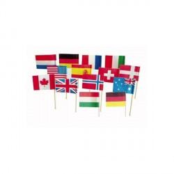 144 petits drapeaux cure-dents pays assortis aléatoires