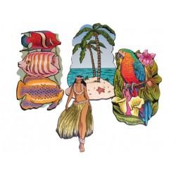 4 découpes exotiques vahiné, poissons exotiques, palmiers, perro