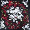 Bandana têtes de mort sur fond de graffitis rouge et jaune foulard carré 100 % coton