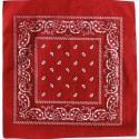 Bandana rouge motifs cachemire blancs et noirs foulard carré 100 % coton