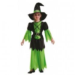 Costume sorcière noire et verte 6 ans 116 cm
