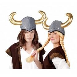 Casque de viking en tissu avec cornes dorées coiffe souple chapeau humoristique
