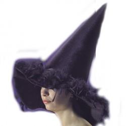 Chapeau de sorcier / sorcière plumes noires