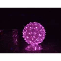 Suspension boule fleurie rose 50 lampes led