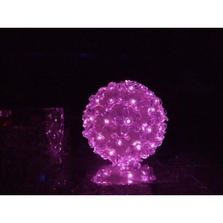 Suspension boule fleurie rose 50 lampes led differents jeux de lumière