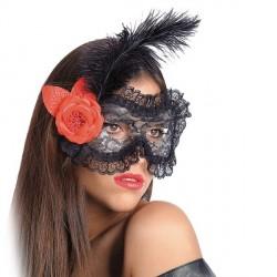 masque-dentelle-noire-plume-noire-fleur-rouge