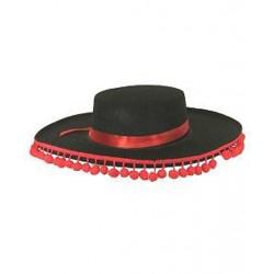Chapeau espagnol noir à pompons rouges
