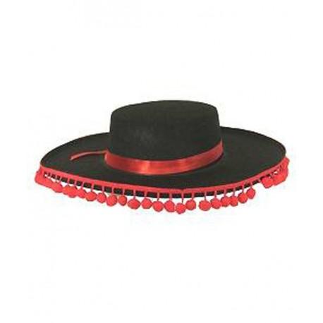 chapeau-espagnol-noir-a-pompons-rouges
