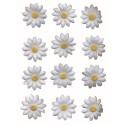 30 marguerites pétales en tissu blanc coeur jaune