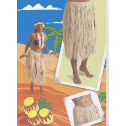 Jupe longue hawaïenne raphia couleur naturelle 70 cm
