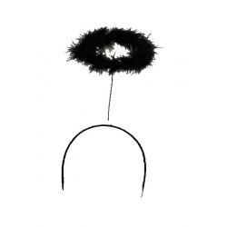 Serre-tête auréole noire en marabout halloween