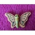 1 Petit papillon en bois peint jaune et pêche