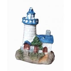 1 Petit phare blanc et bleu figurine