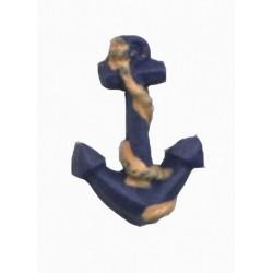 1 Ancre marine bleu et orange en résine 3 cm