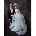 Figurine de mariés en plastique Noir et Blanc dentelle