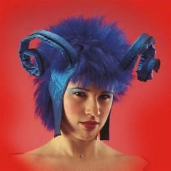 Lady Devil Perruque Avec Cornes Bleues Type Diable Démon