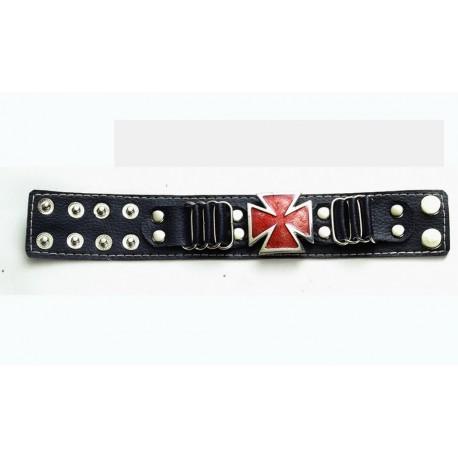 bracelet-sky-noir-croix-de-malte-rouge