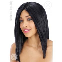 Perruque noire mi-longue Cheveux raides sans frange