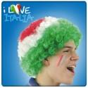 Perruque vert blanc rouge Pop frisée aux couleurs de l'Italie