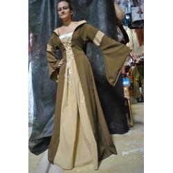 robe-medievale-beige-caramel-a-lacets