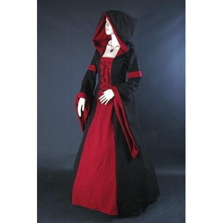 robe-medievale-noire-et-bordeaux-a-lacets