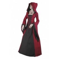 robe-medievale-bordeaux-et-noire-a-lacets