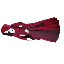 Robe médiévale rouge et bordeaux à lacets