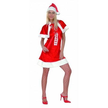 Robe de Mère Noël avec lacet devant, capeline et bonnet