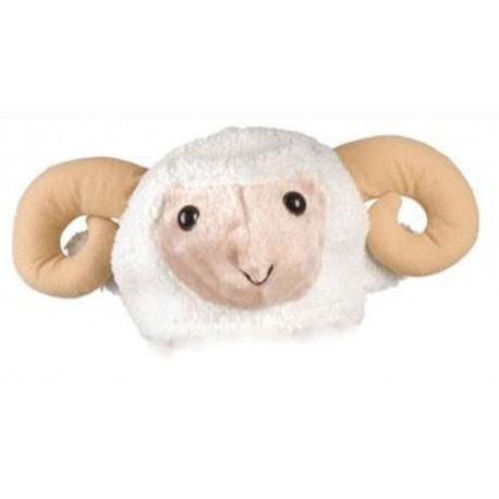 chapeau de bélier en peluche beige coiffe humoristique mouton