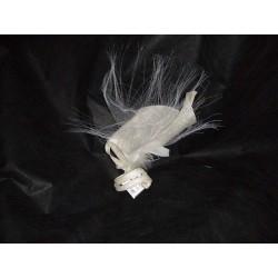 Pince Estelle sisal jaune paille et crin blanc coiffe de cérémonie