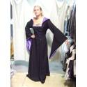Robe médiévale noire et violette à galon ivoire avec lacets