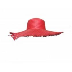 Chapeau antillais paille rouge
