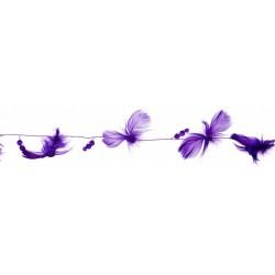 Guirlande couleur violette en Plumes naturelles et Perlestransparentes 2 mètres