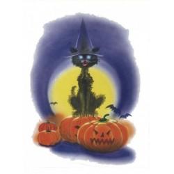 Décoration électrostatique Halloween chat noir et citrouille