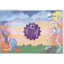 8 cartes d'invitation 8 enveloppes Halloween Squelette et tombe