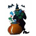 Décoration électrostatique Halloween Sorcière et chaudron