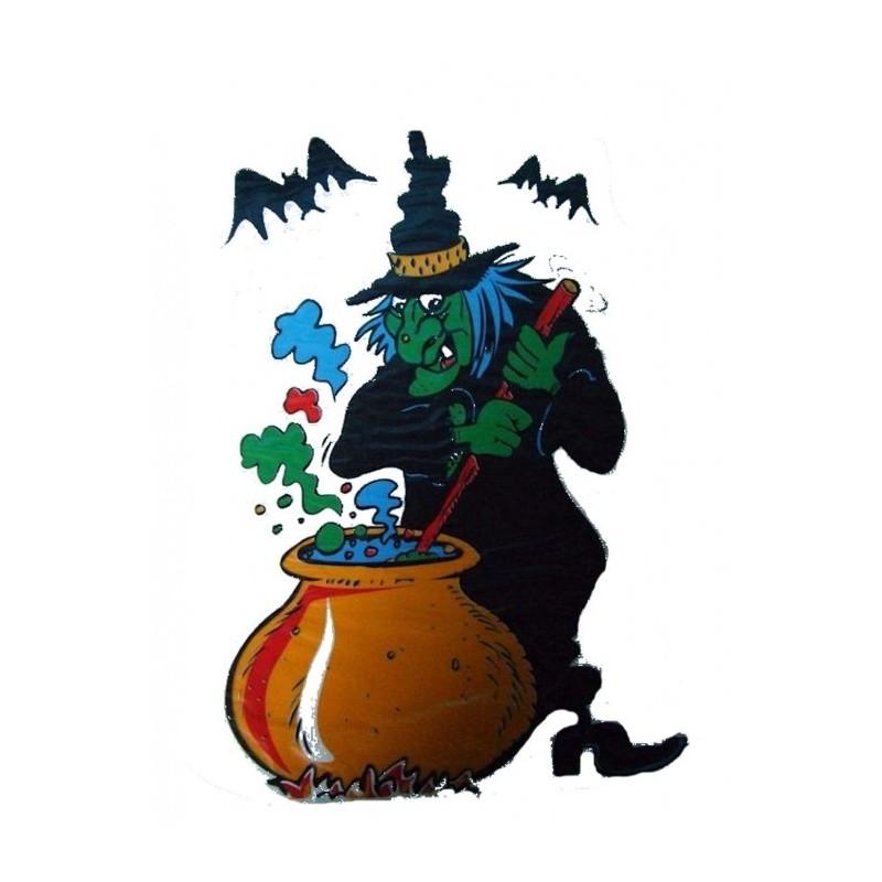 D coration lectrostatique halloween sorci re et chaudron festi fiesta - Image de sorciere ...