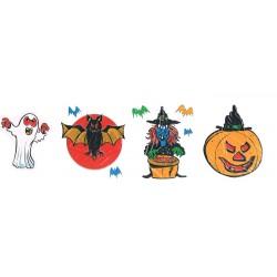 2 électrostatiques Halloween fantôme, sorcière, chauve-souris