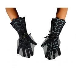 Gants noirs avec décor toile d'araignée avec araignée dodue