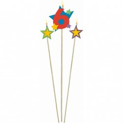 Bougie Chiffre 6 sur pique avec 2 pics bougies étoiles