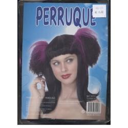 Perruque femme couettes violettes et frange Gothique noire