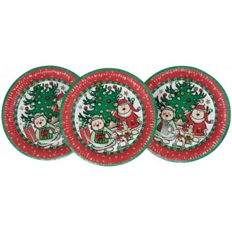 6-assiettes-plates-decor-de-noel-nounours-o-23-cm