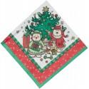 12 serviettes en papier motif Noël famille sous le sapin