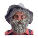 Barbe mi-longue grise bouclée